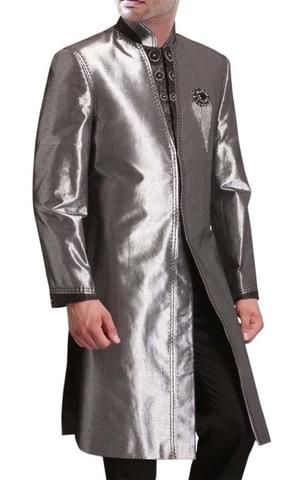 Mens Sharkskin 2 Pc Indo Western Suit Nehru Collar