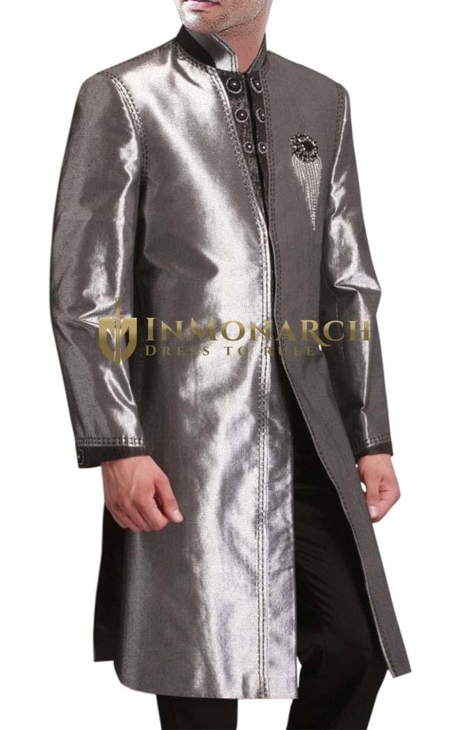 Sherwani Sharkskin Indo Western Suit Nehru Collar Sherwani for Men Wedding