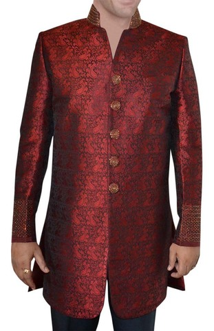 Indian Wedding Clothes for Men Dark Red Indo Western Embroidered Sherwani