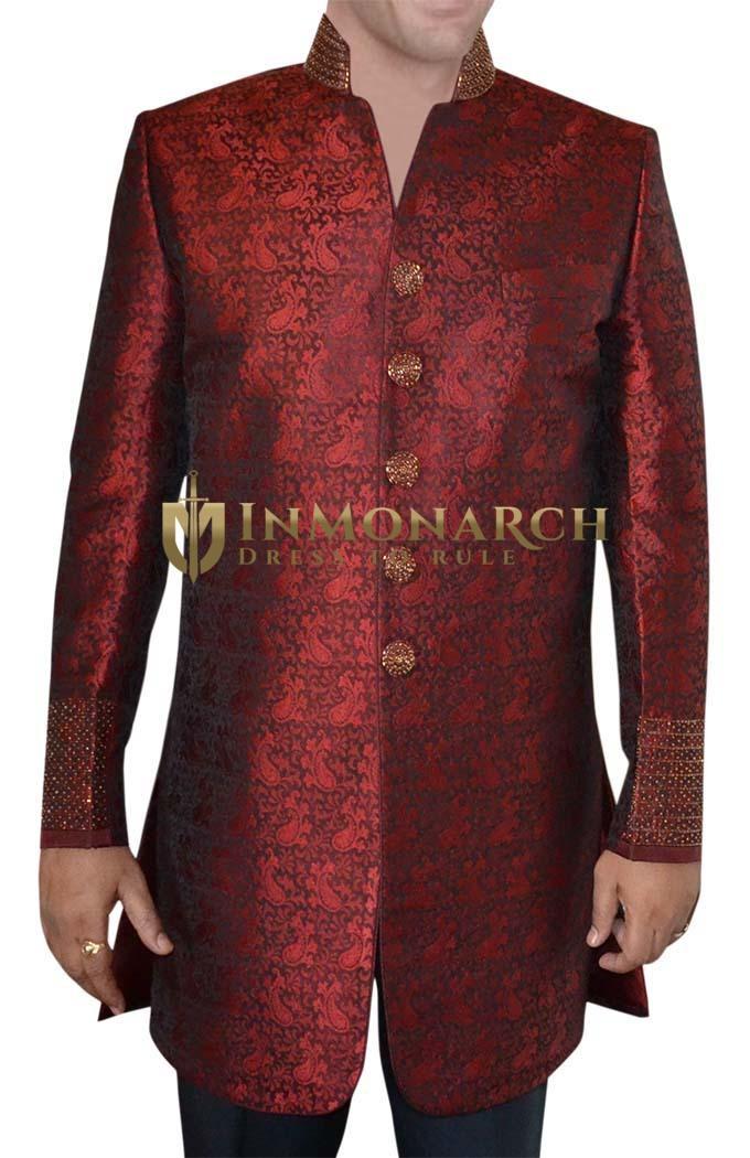 Mens Dark Red 2 Pc Indo Western Golden Embroidered