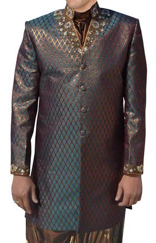 Mens Green Brocade 3 Pc Indo Western Suit Collar V Neck