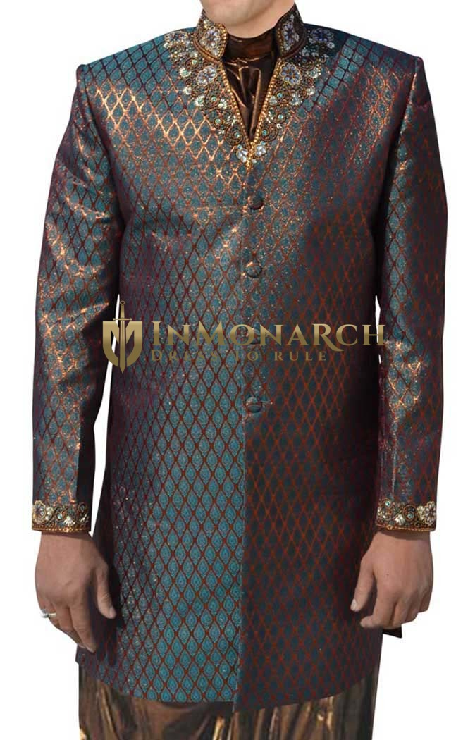 Mens Green Brocade 3 Pc Indo Western Suit Collar V Neck