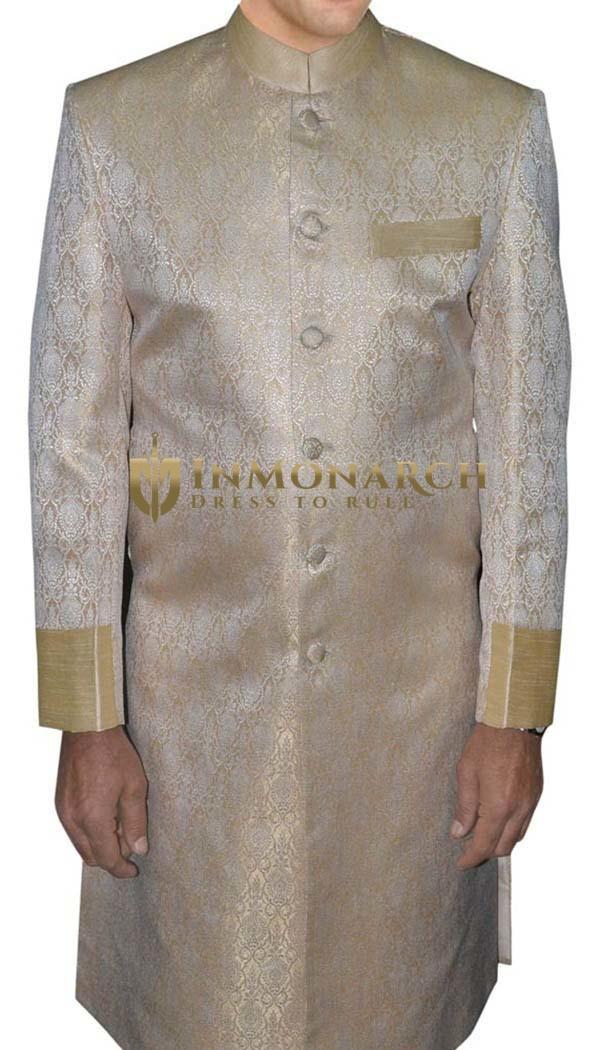 Mens Golden Brocade 2 Pc Indo Western Suit