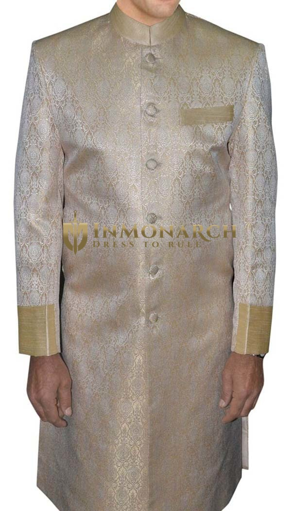 Mens Golden Brocade 2 Pc Indo Western Suit