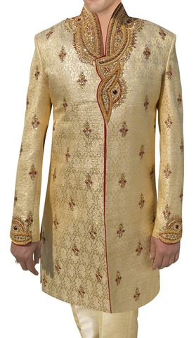 Mens Light yellow 2 Pc Indo Western High Neck Angarakha