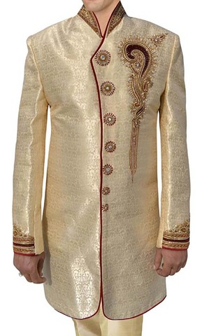 Indian Sherwani for Men Light yellow Indo Western Traditional Sherwani kurta