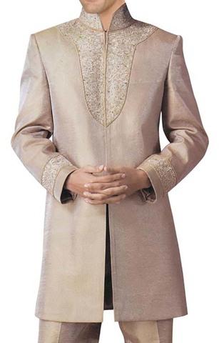 Mens Beige Dupion 2 Pc Indowestern Suit