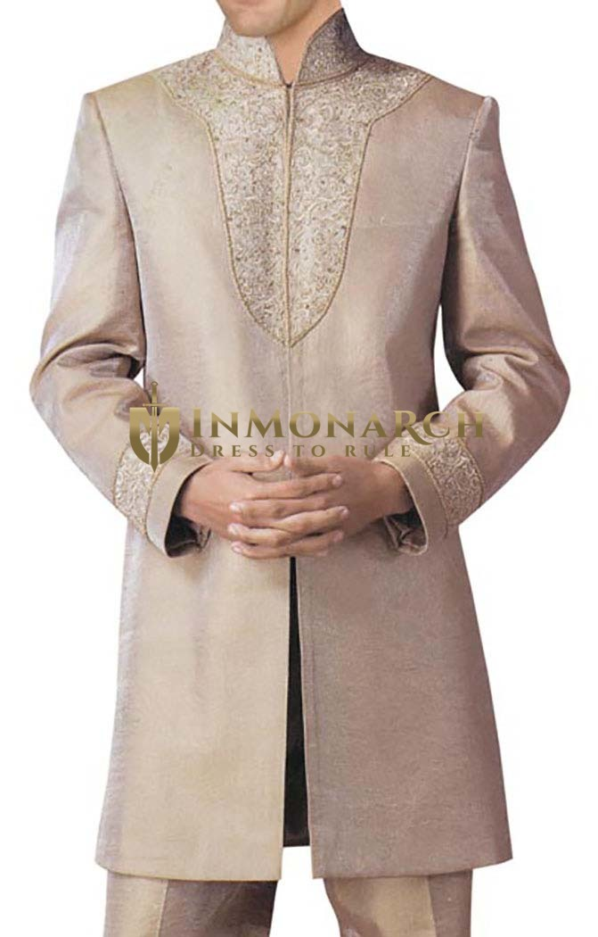 Indian Wedding for Men Beige Dupion Indowestern Suit kurta for jeans