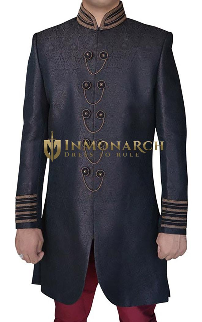 Mens Sherwani Kurta Purple Gray Indowestern Embroidered Wedding Sherwani
