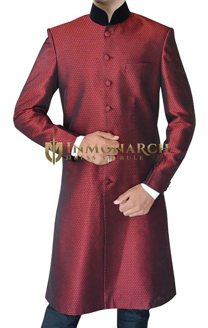 Mens Maroon 2 Pc Indowestern Suit Traditional Designer