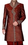 Mens Maroon Short 2 Pc Indowestern Sherwani High Neck