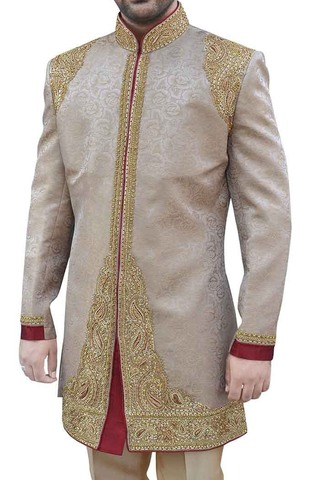 Mens Beige Embroidered Wedding 2 Pc Indo Western