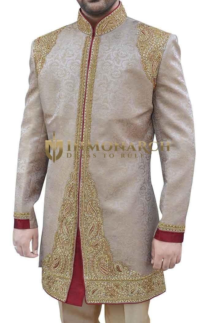 Mens Beige Embroidered Wedding 2 Pc Indo Western