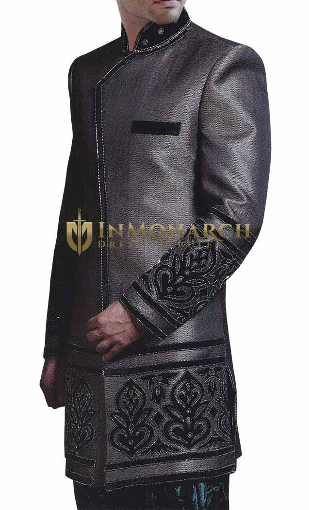 Mens Dark Gray Polyester 2 Pc Indo Western Engagement