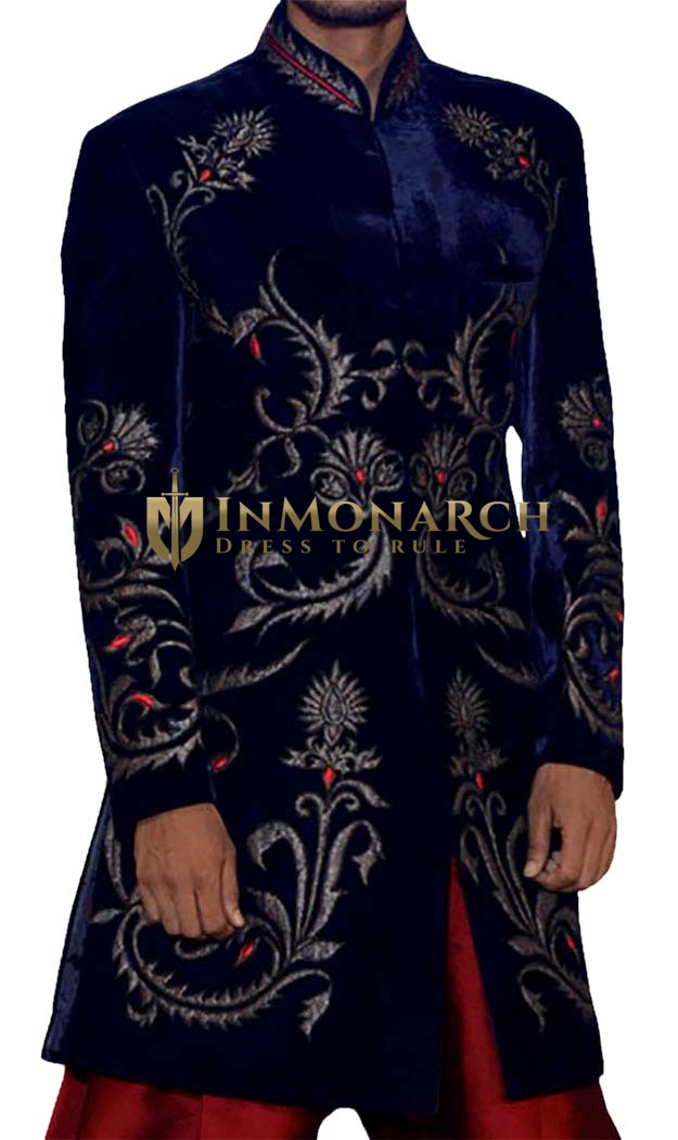 Mens Navy Blue 2 Pc Indo Western Sherwani Traditional