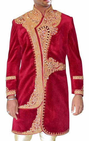 Indian Sherwani for Men Maroon Velvet Indo Western Embroidered Sherwani