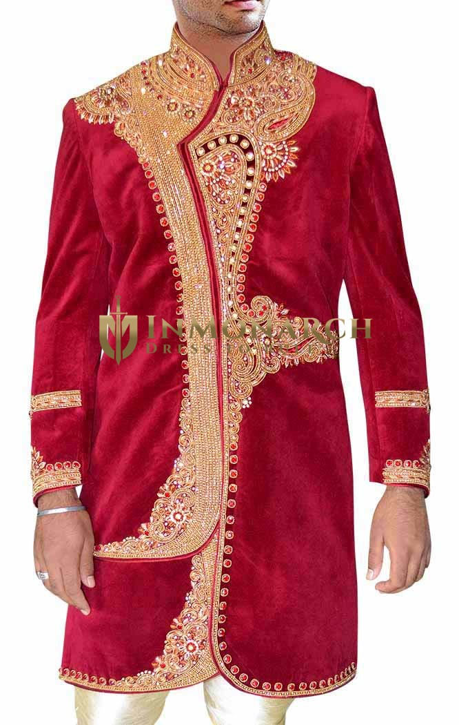 Mens Maroon Velvet 2 Pc Indo Western Embroidered