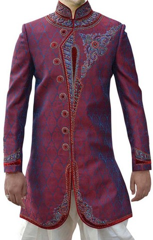 Purple Mens Indian Wedding Indo Western Prince Sherwani