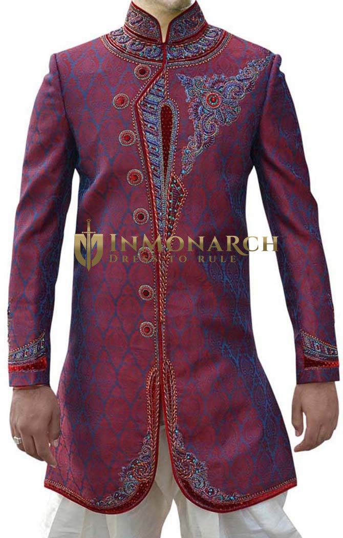 Mens Indian Wedding Clothes Crimson Indo Western Prince Sherwani