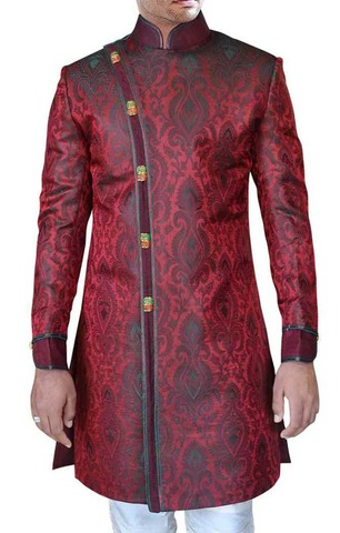 Mens Maroon Brocade 2 Pc Indo Western Suit Bridegroom