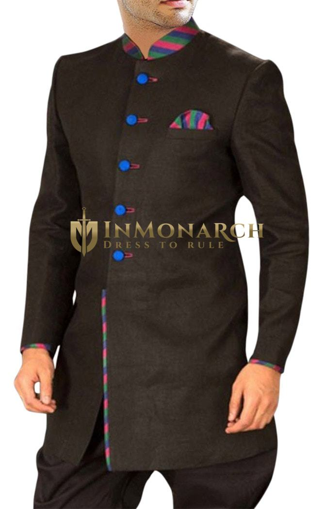 Mens Sherwani Kurta Dark brown Indo Western Wedding Sherwani