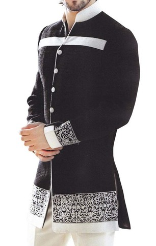 Mens Black 2 Pc Indo Western Thread Embroidery