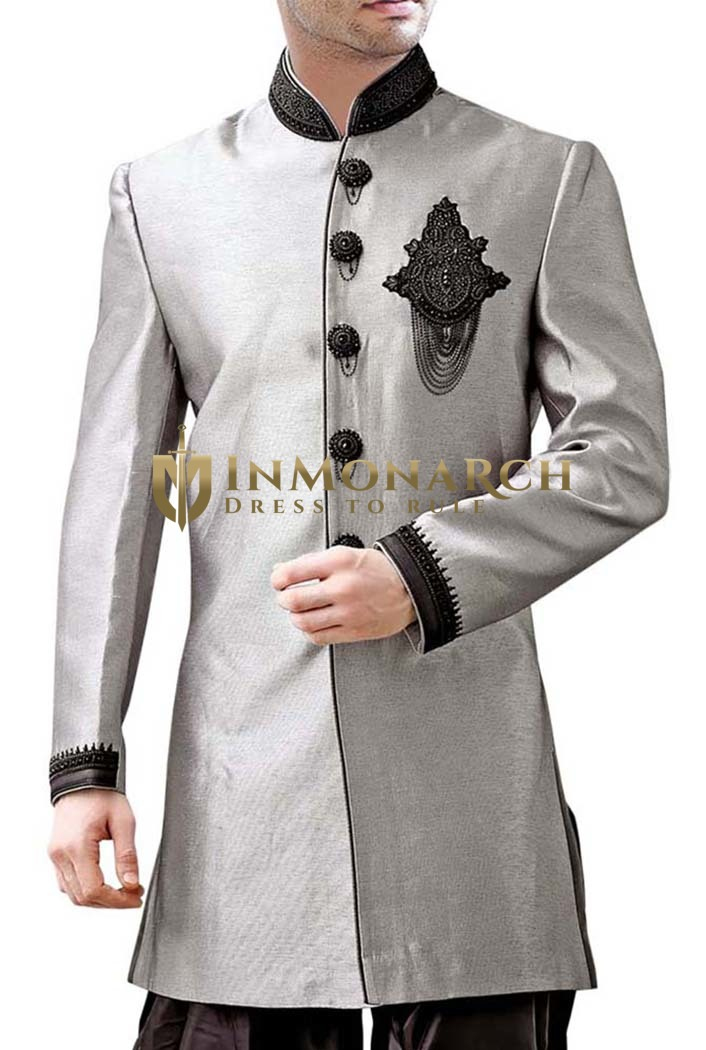 Mens Sherwani kurta Light Gray Indo Western Wedding Sherwani