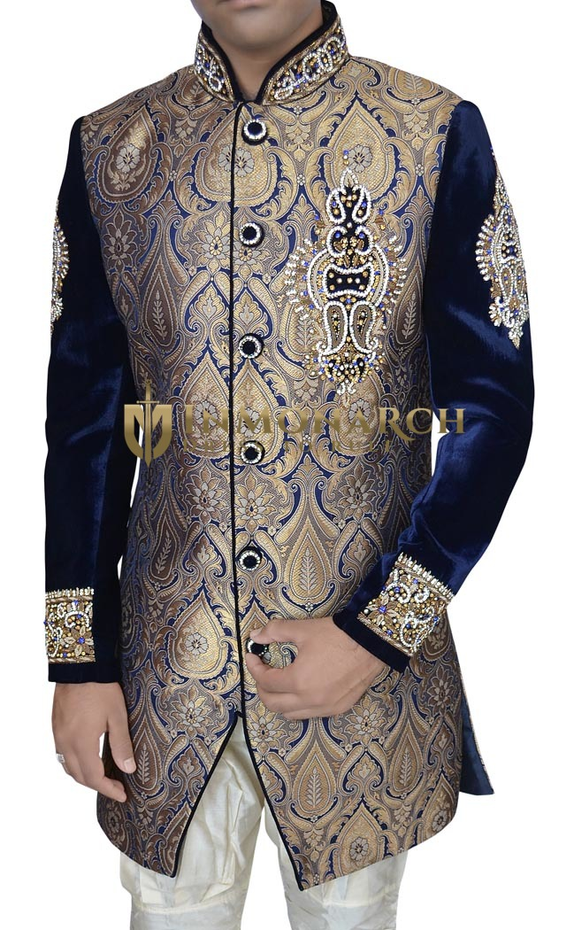 Indian Sherwani for Men Golden and Blue Indo Western Sherwani Wedding