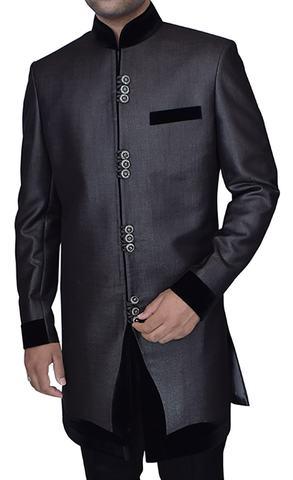 Mens Gray Nehru style 2 Pc Indowestern Velvet Trimmed