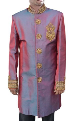Mens Crimson Red 2 Pc Indo Western Suit Nehru Collar