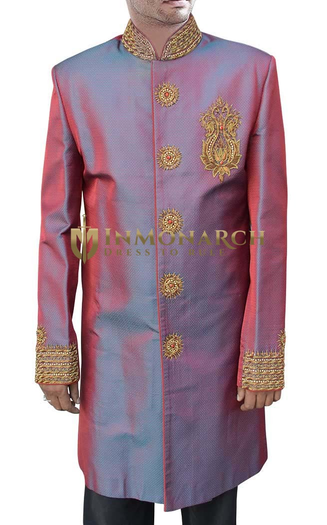 Sherwani Crimson Red Indo Western Suit Nehru Collar Indian Wedding Clothes
