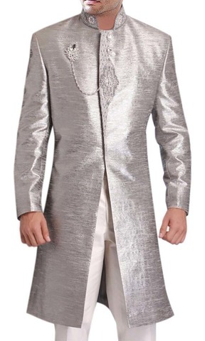 Mens Silver 3 Pc Long Coat Jodhpuri Designer