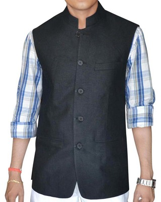 Mens Black nehru jacket Indian Vest