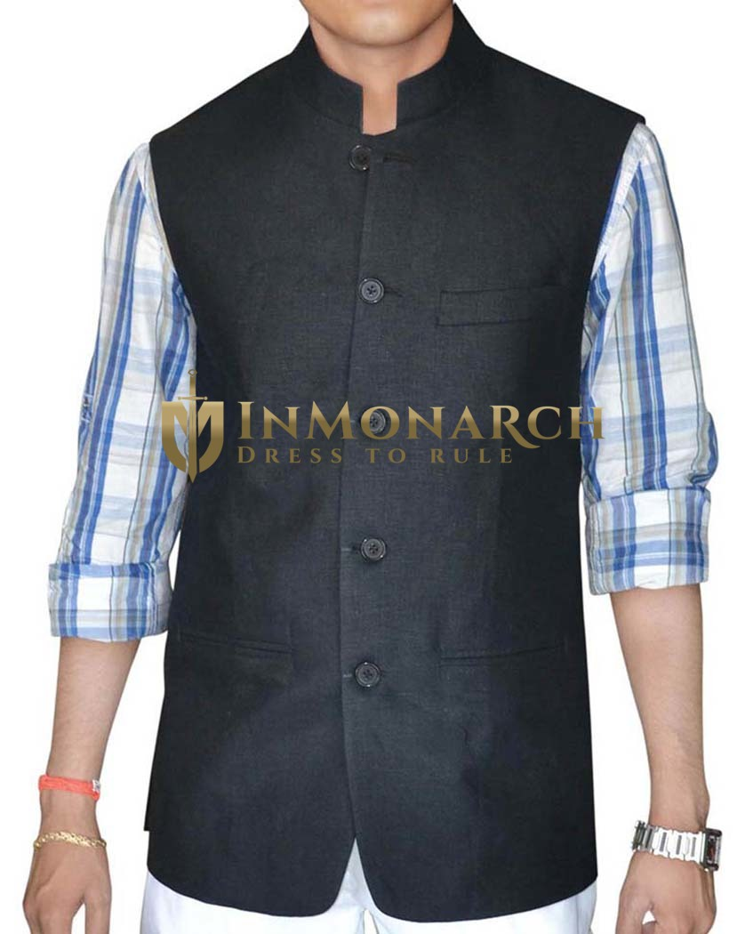 Mens Black Linen Nehru Vest Politician 5 button