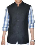 Mens Black Linen Nehru Vest Politician 5 button