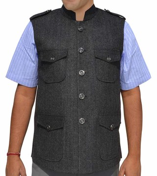 Mens Dark Gray Nehru Vest Military Style 4 Pocket