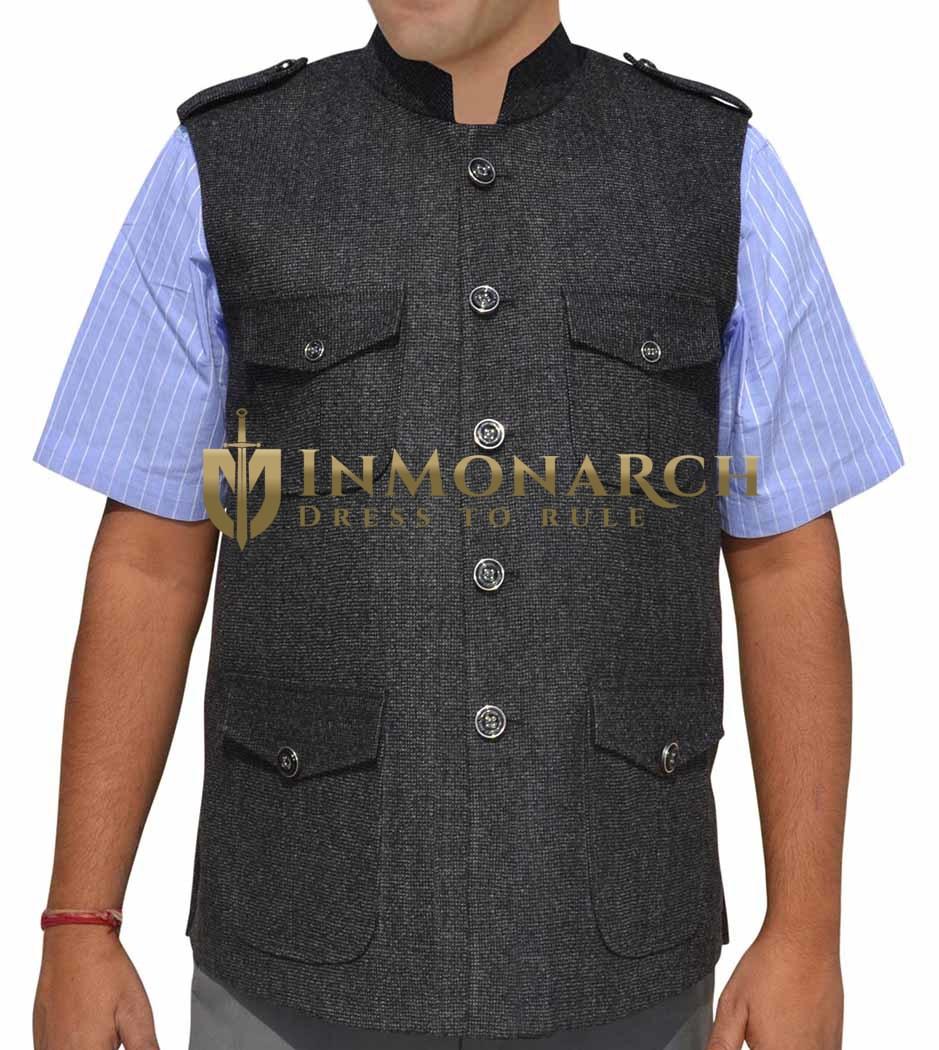 Mens Dark Gray Nehru Vest Military Style 4 Pocket