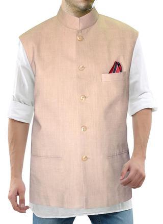 Mens Bisque Linen Waistcoat Nehru Collar Vest