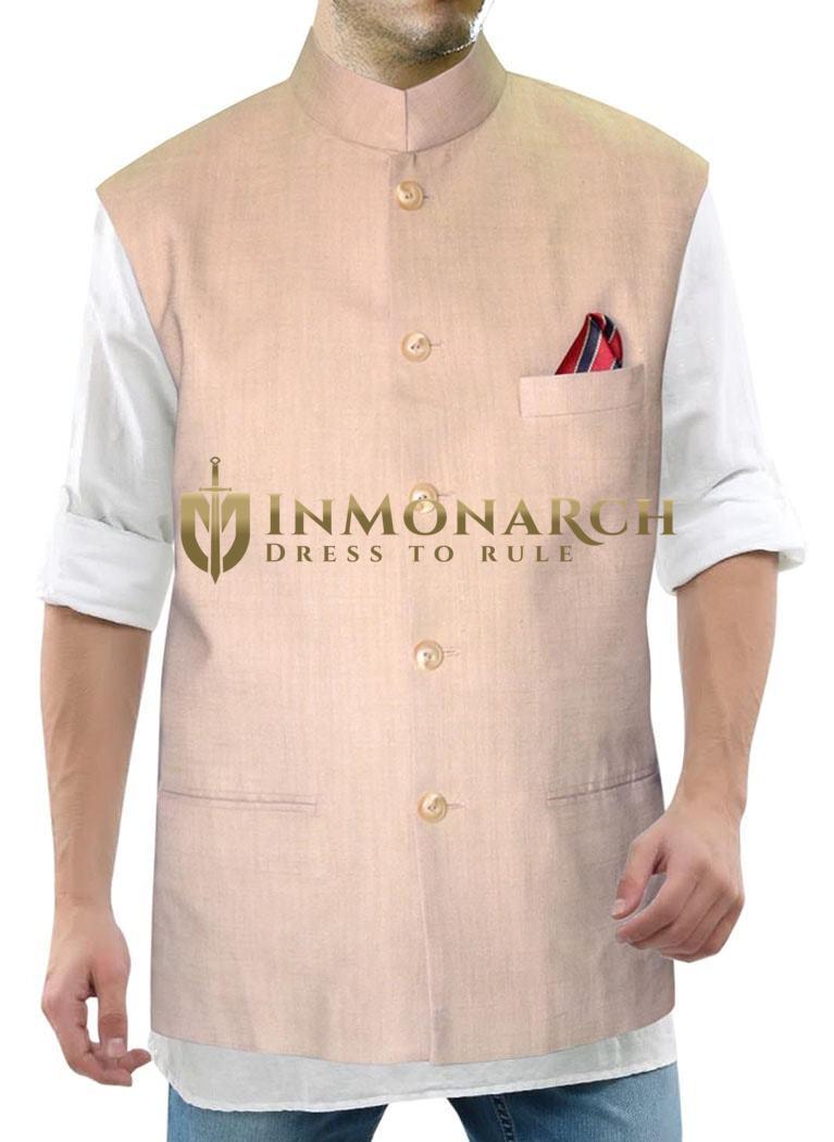 Mens Bisque Waistcoat Nehru Collar Vest