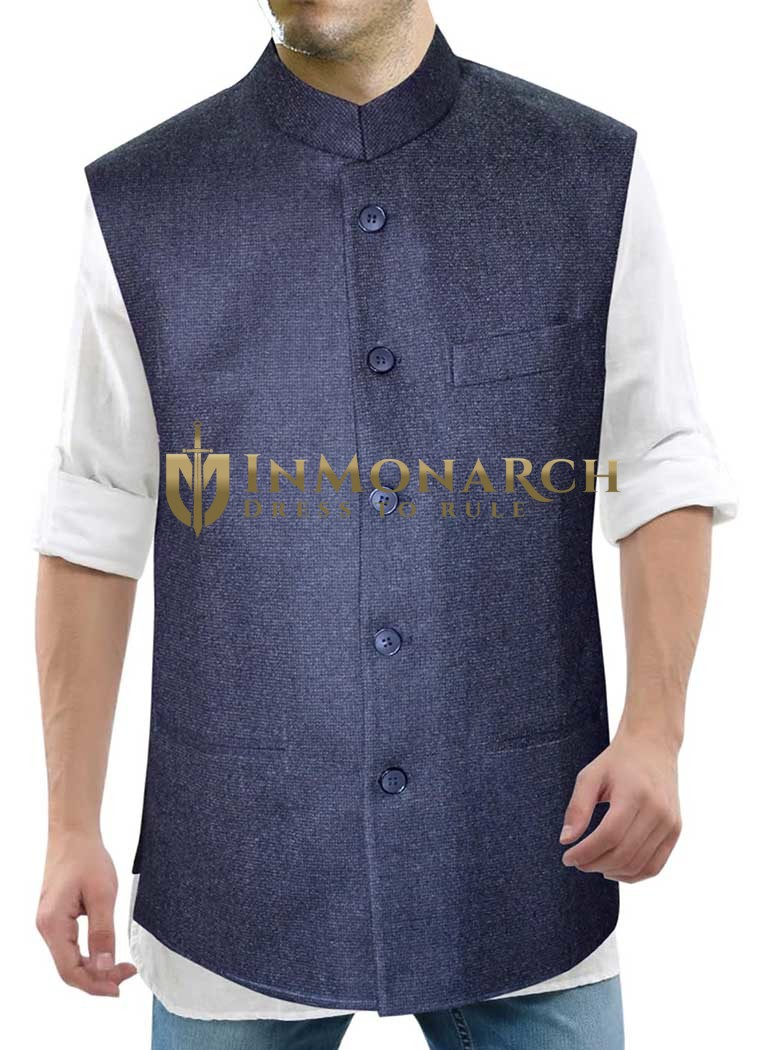 Mens Denim Blue Nehru Collar Waistcoat Nehru Jacket