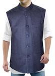 Mens Denim Blue Nehru Collar Waistcoat 3 pocket
