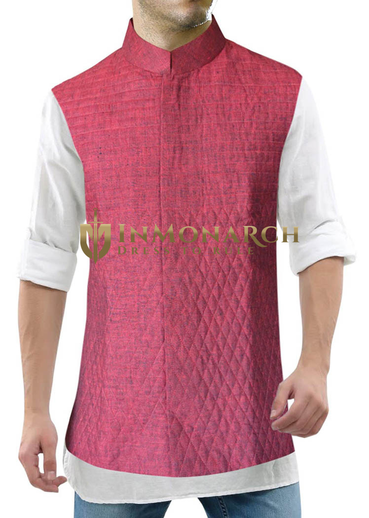 Mens Red Linen Nehru Vest Stylish Conceal Button