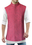 Mens Red Linen Nehru Vest Conceal Button