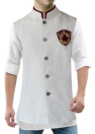 Mens Natural Nehru Vest 5 button Velvet Patch Modi Jacket for men