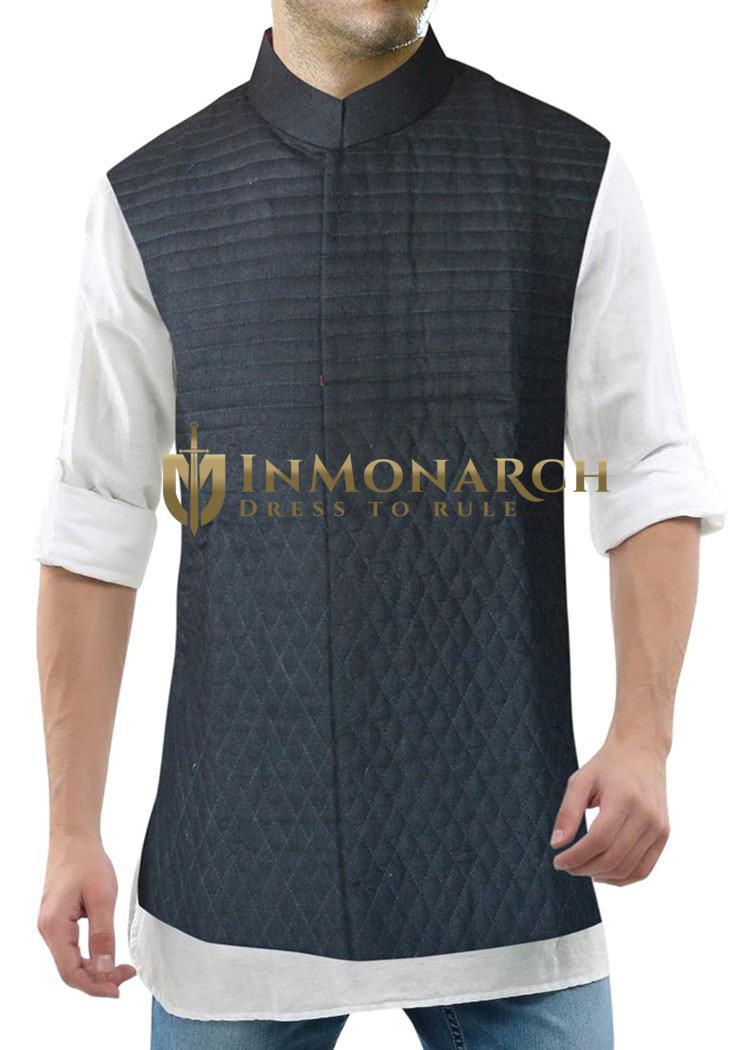 Mens Black Linen Nehru Vest Designer Conceal Button