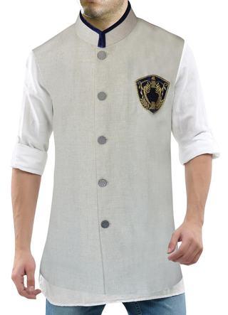 Mens Natural Linen Nehru Vest Wonderful Logo