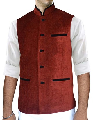 Mens Red Velvet Nehru Vest Traditional 3 Pocket