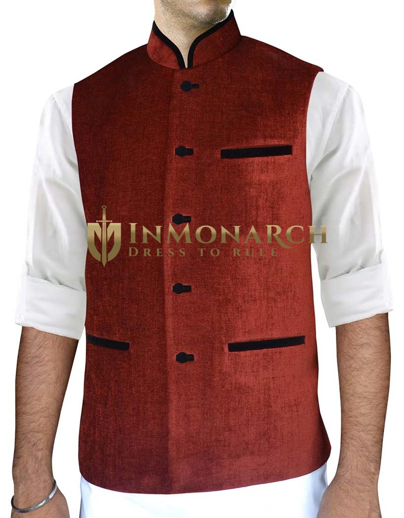 Mens Red Nehru Vest Traditional Indian Vest
