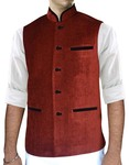 Mens Red Velvet Nehru Vest Traditional 3 Pocket