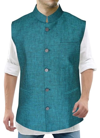 Mens Teal Nehru Vest Five Button Partywear